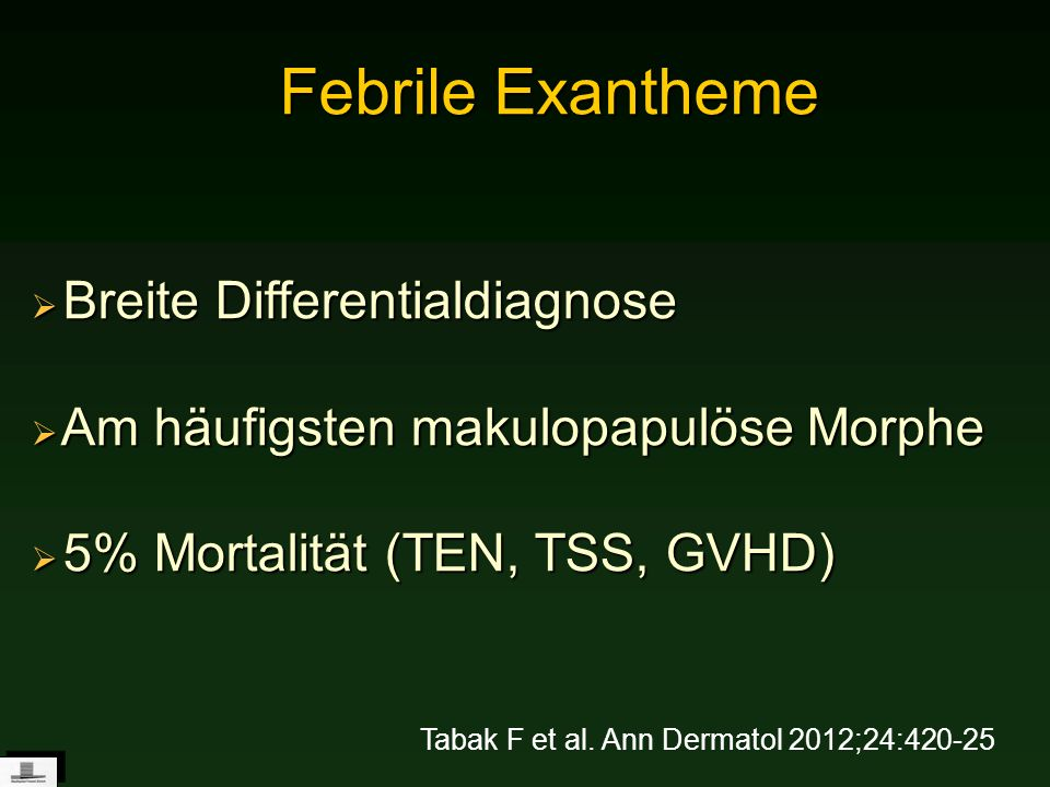 Febrile Exantheme Breite Differentialdiagnose