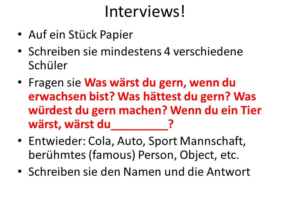 Interviews! Auf ein Stück Papier