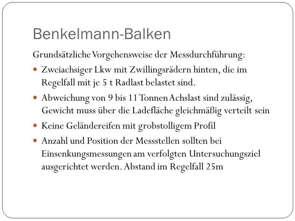 Benkelmann-Balken Grundsätzliche Vorgehensweise der Messdurchführung:
