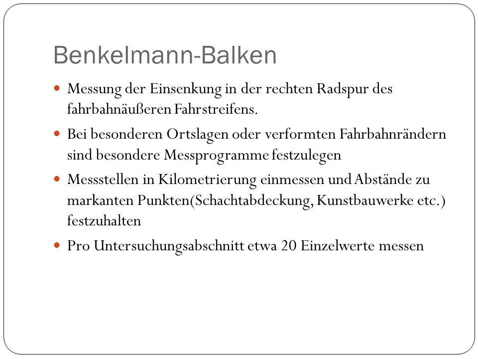 Benkelmann-Balken Messung der Einsenkung in der rechten Radspur des fahrbahnäußeren Fahrstreifens.