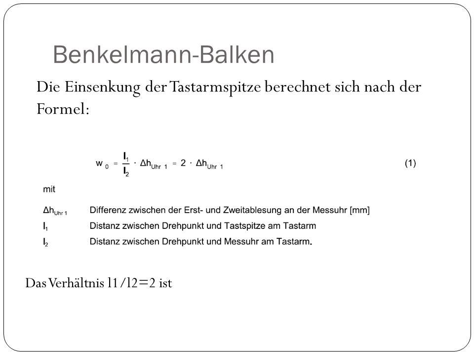 Benkelmann-Balken Die Einsenkung der Tastarmspitze berechnet sich nach der Formel: Das Verhältnis l1/l2=2 ist.