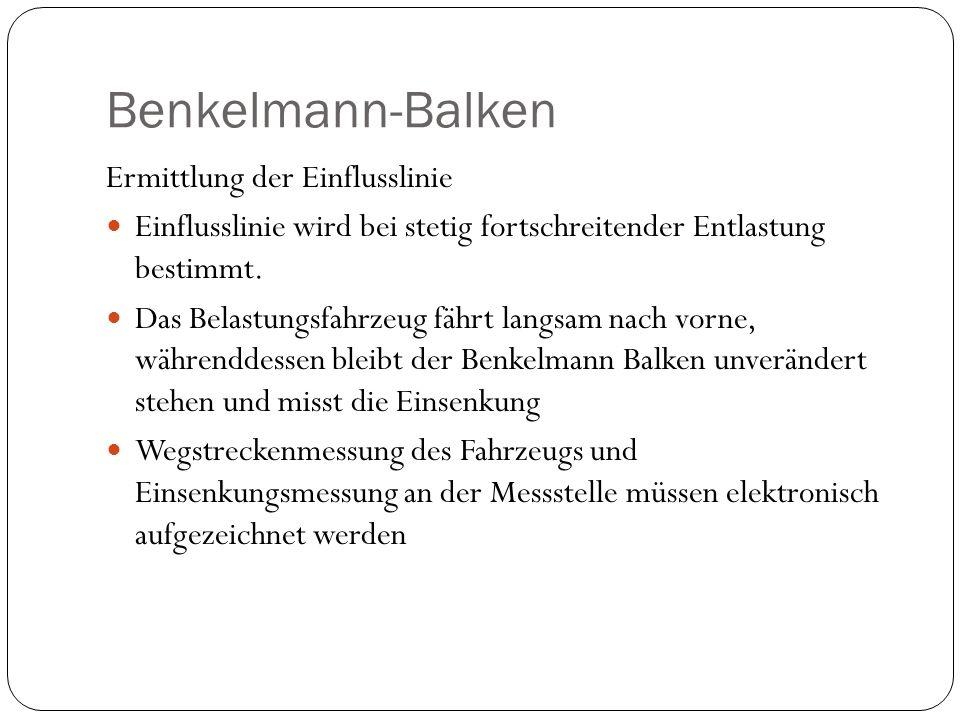 Benkelmann-Balken Ermittlung der Einflusslinie