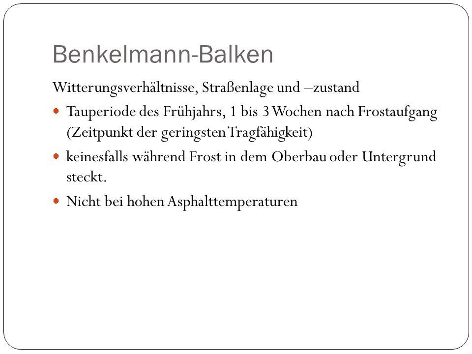 Benkelmann-Balken Witterungsverhältnisse, Straßenlage und –zustand
