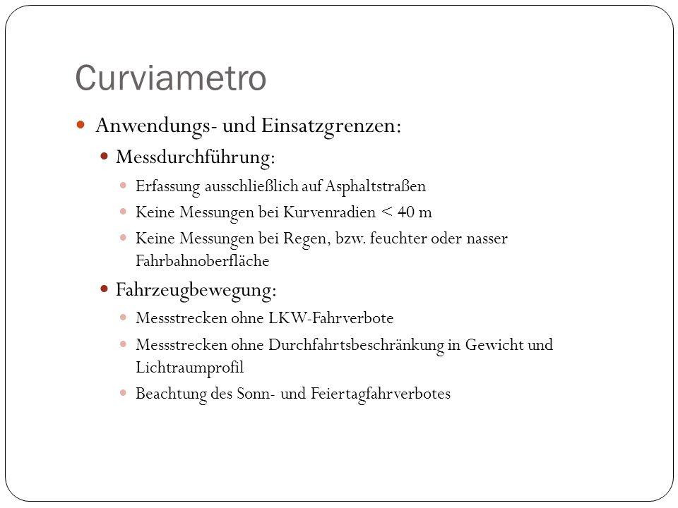 Curviametro Anwendungs- und Einsatzgrenzen: Messdurchführung: