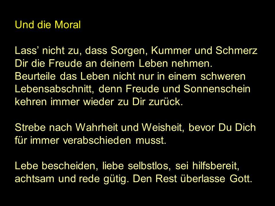 Und die Moral Lass' nicht zu, dass Sorgen, Kummer und Schmerz Dir die Freude an deinem Leben nehmen.
