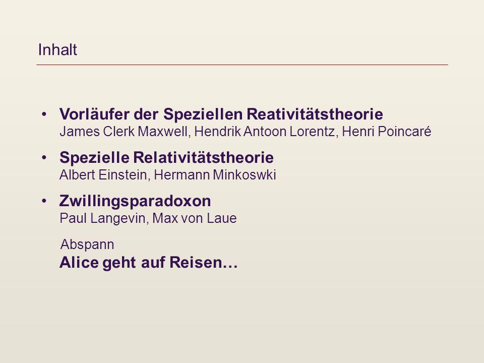 Inhalt Vorläufer der Speziellen Reativitätstheorie James Clerk Maxwell, Hendrik Antoon Lorentz, Henri Poincaré.