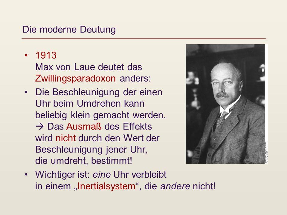 Die moderne Deutung 1913 Max von Laue deutet das Zwillingsparadoxon anders: