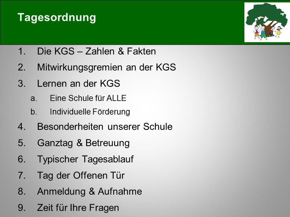 Tagesordnung Die KGS – Zahlen & Fakten Mitwirkungsgremien an der KGS