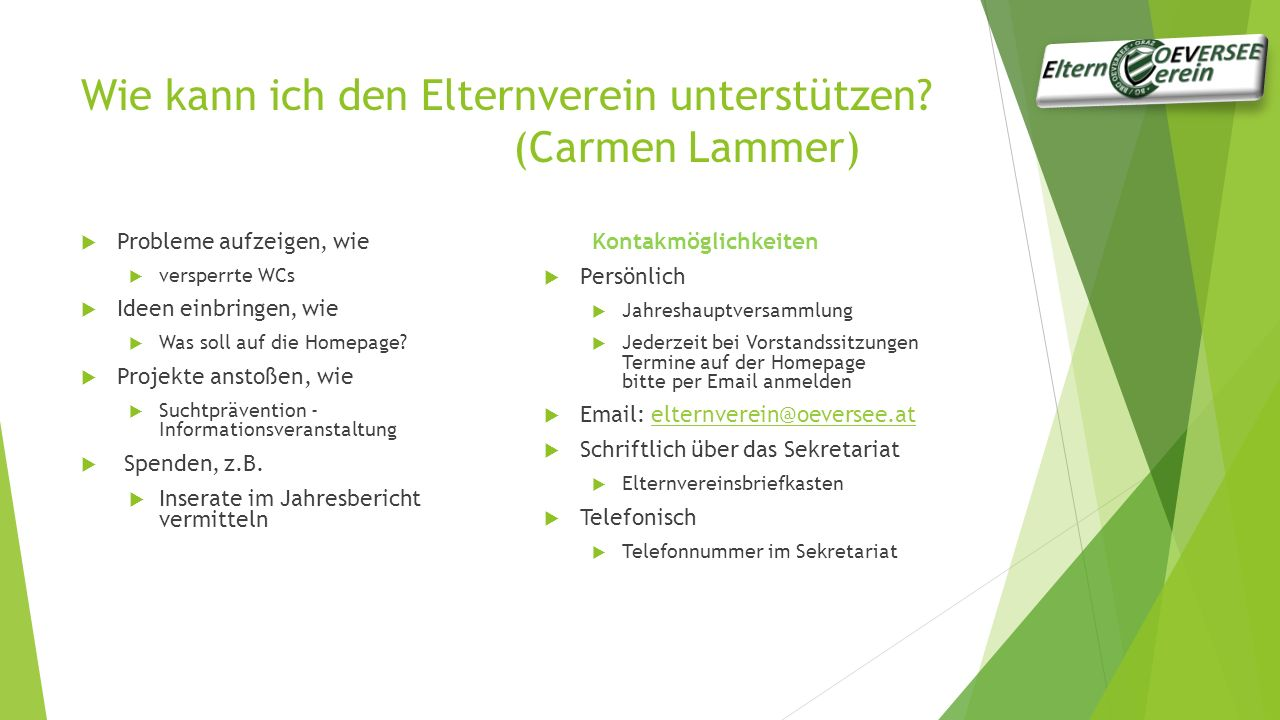 Wie kann ich den Elternverein unterstützen (Carmen Lammer)