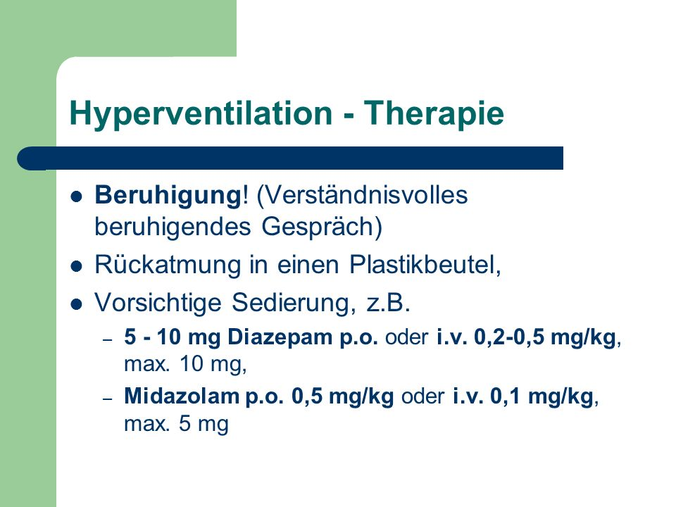Hyperventilation - Therapie