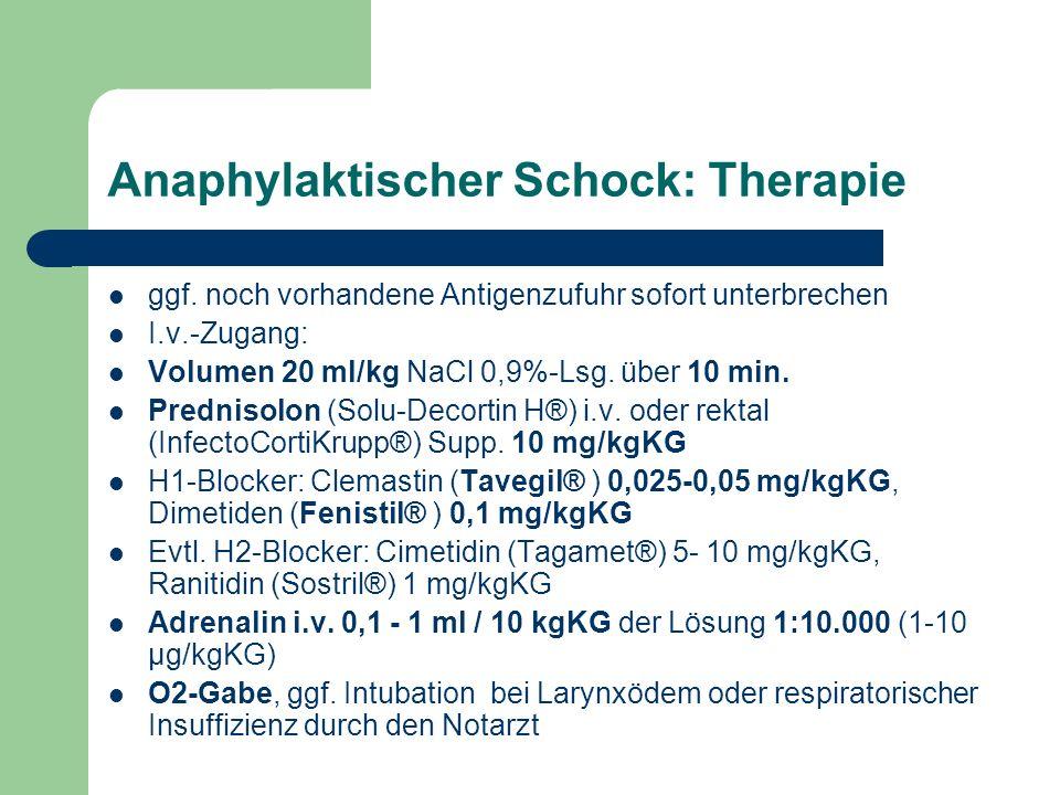 Anaphylaktischer Schock: Therapie