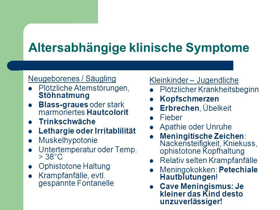 Altersabhängige klinische Symptome