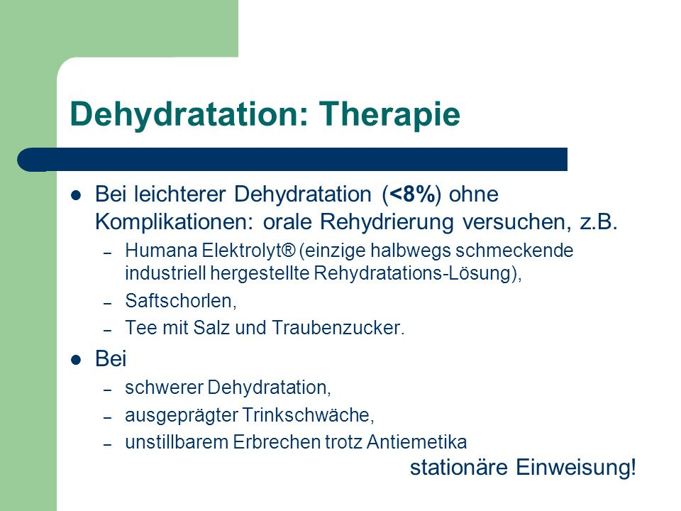Dehydratation: Therapie
