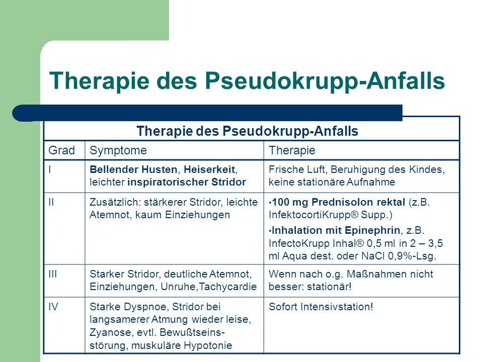 Therapie des Pseudokrupp-Anfalls