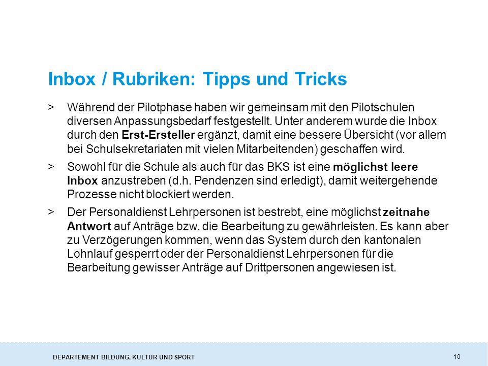 Inbox / Rubriken: Tipps und Tricks