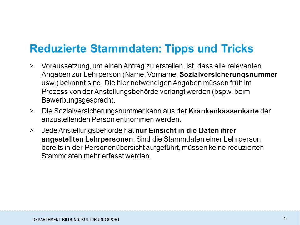 Reduzierte Stammdaten: Tipps und Tricks