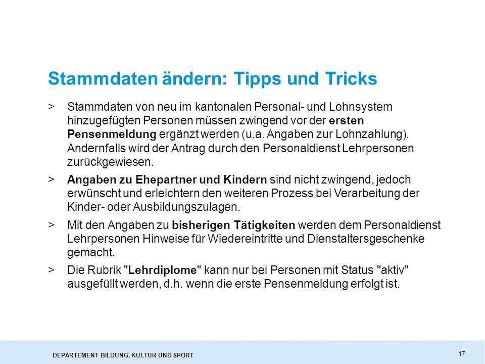 Stammdaten ändern: Tipps und Tricks