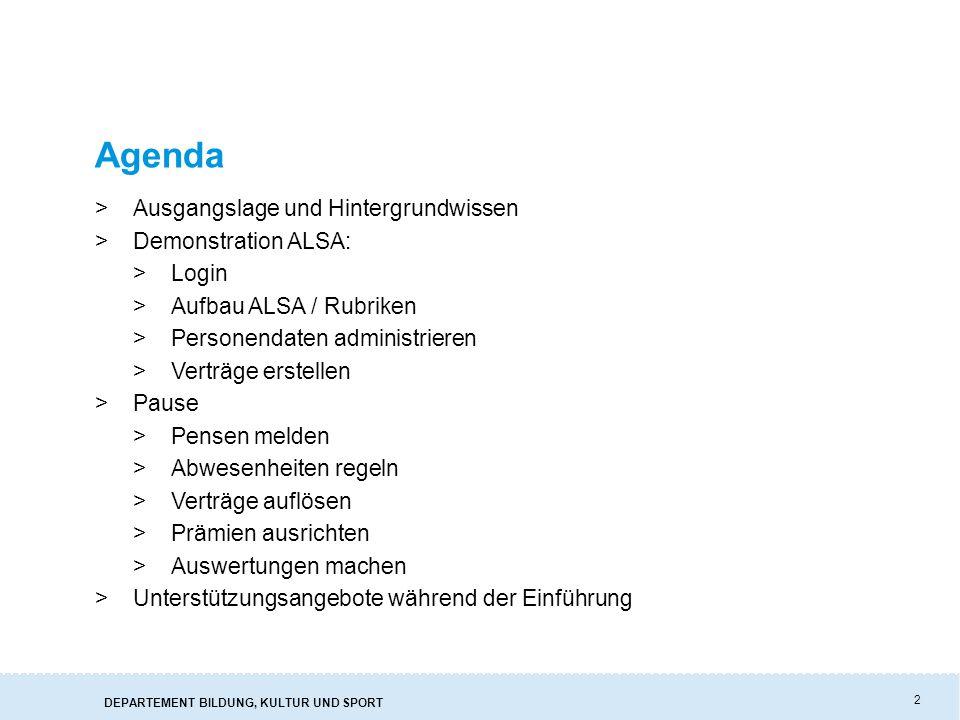 Agenda Ausgangslage und Hintergrundwissen Demonstration ALSA: Login