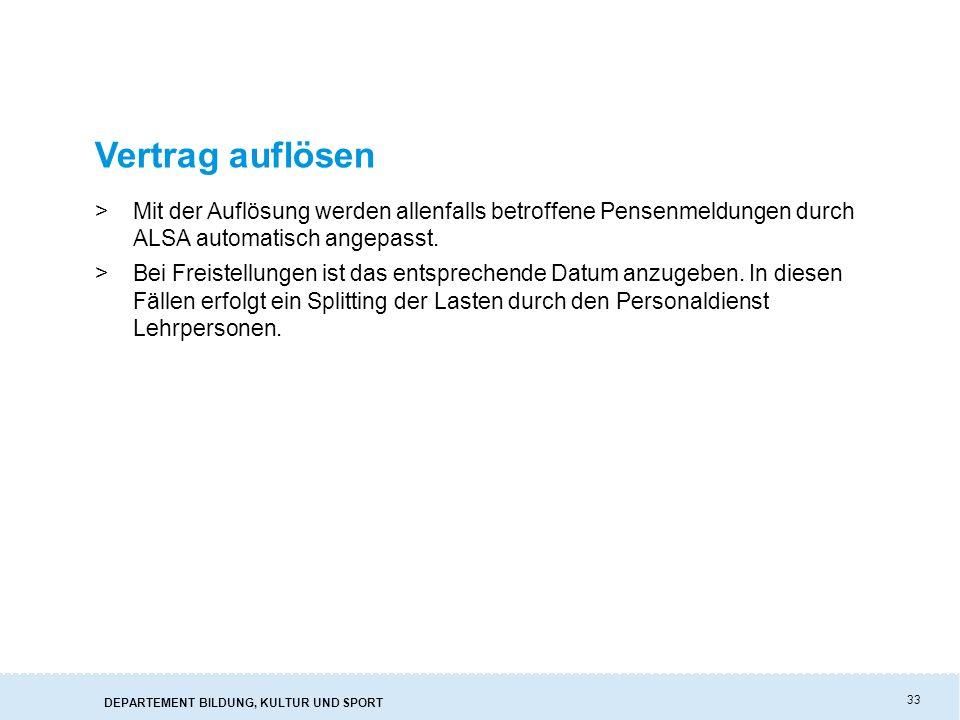 Vertrag auflösen Mit der Auflösung werden allenfalls betroffene Pensenmeldungen durch ALSA automatisch angepasst.