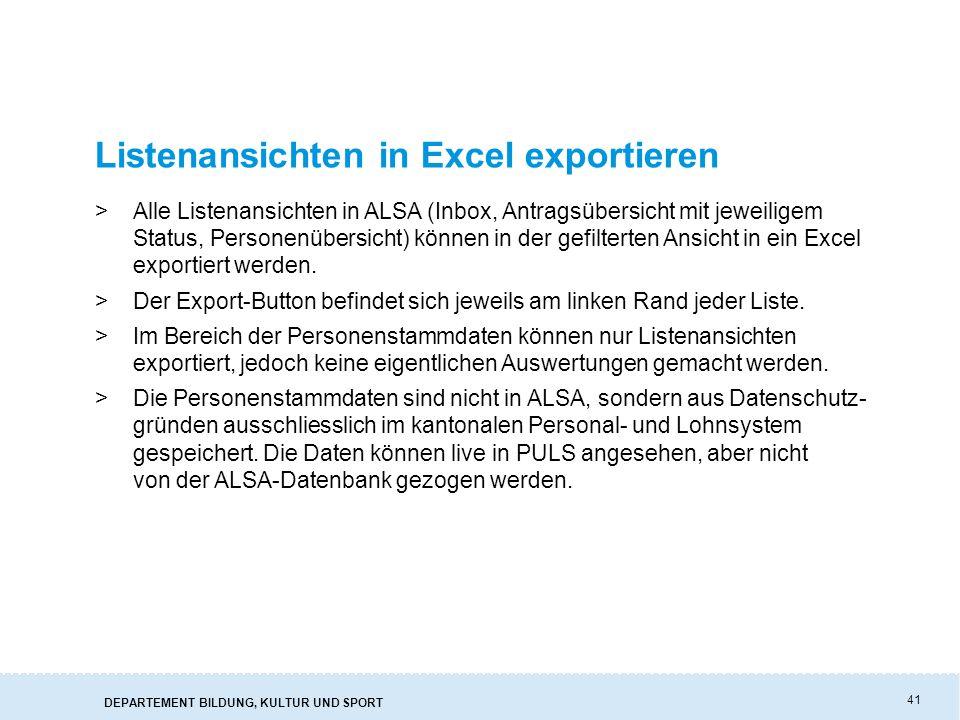 Listenansichten in Excel exportieren