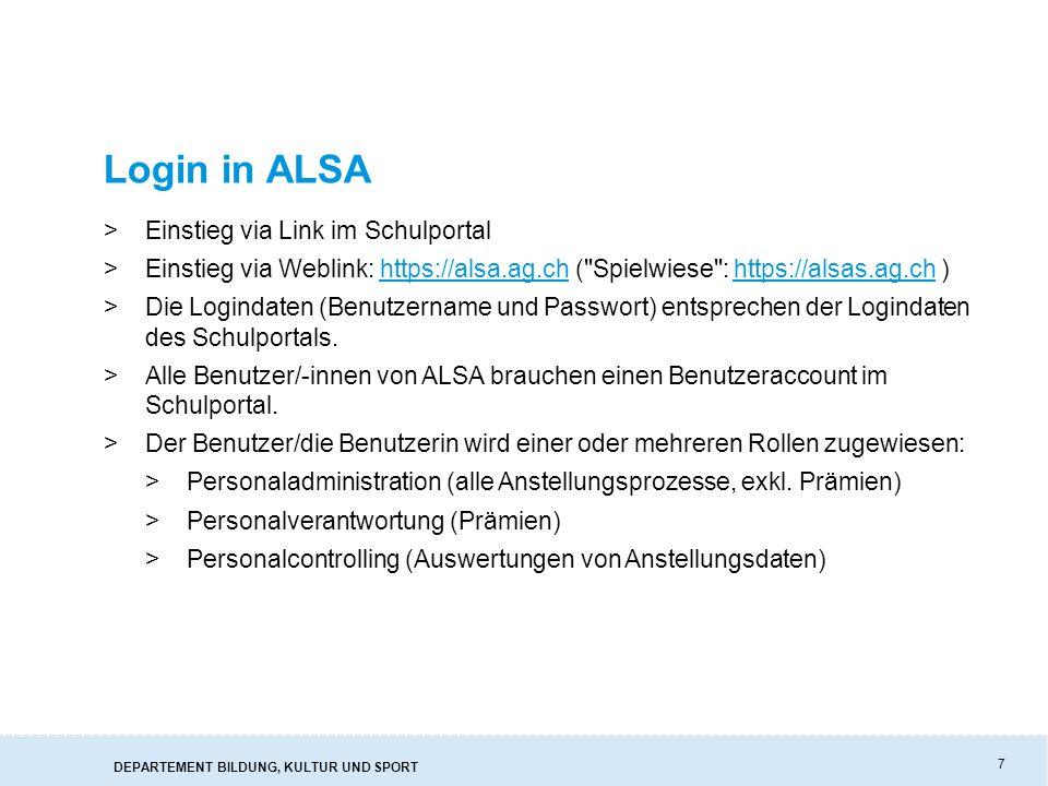 Login in ALSA Einstieg via Link im Schulportal
