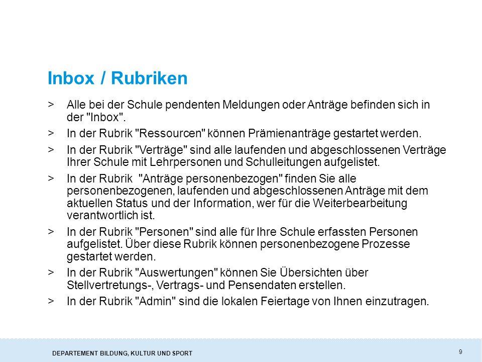 Inbox / Rubriken Alle bei der Schule pendenten Meldungen oder Anträge befinden sich in der Inbox .