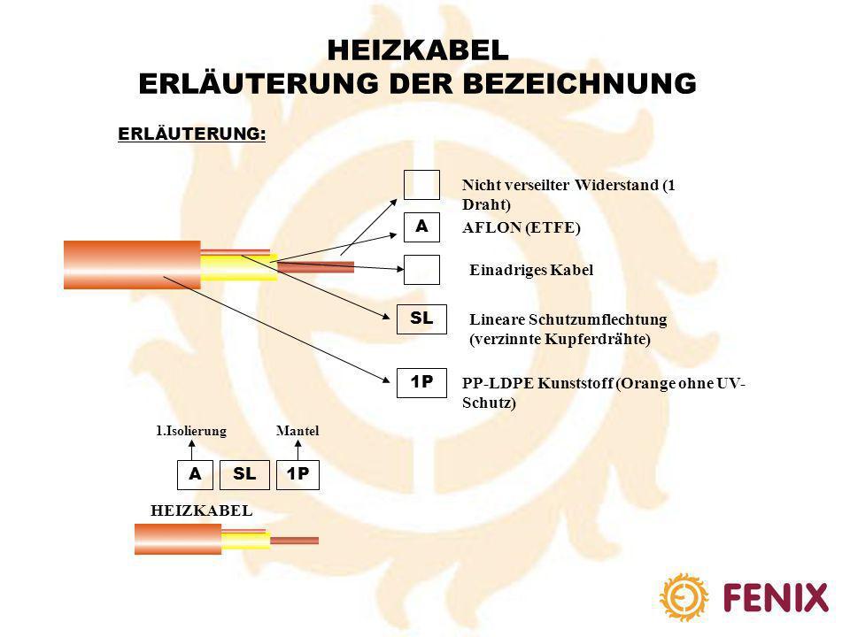 HEIZKABEL ERLÄUTERUNG DER BEZEICHNUNG