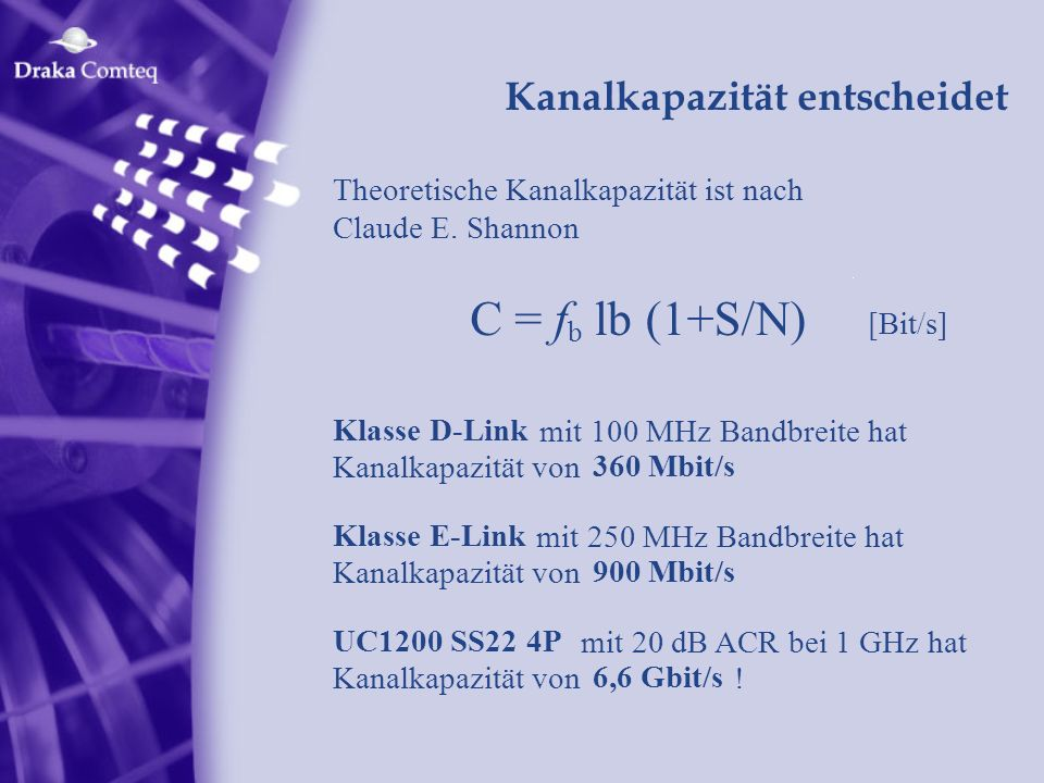 C = f lb (1+S/N) Kanalkapazität entscheidet