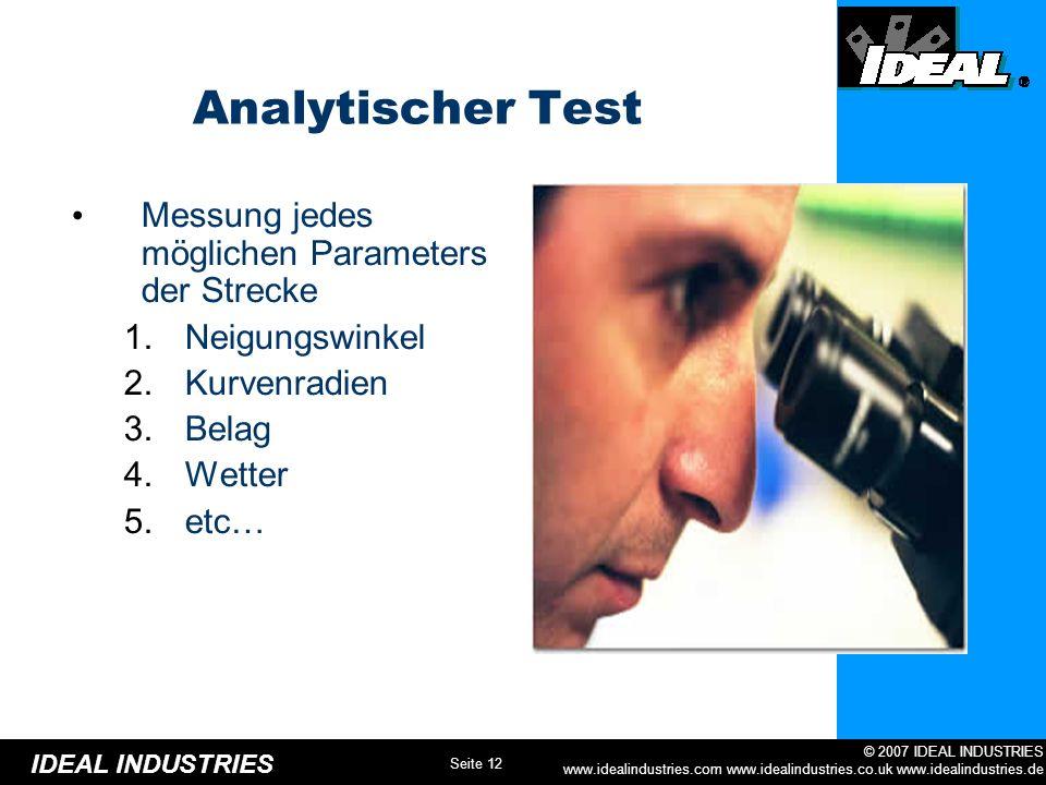 Analytischer Test Messung jedes möglichen Parameters der Strecke