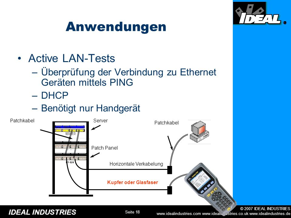 Anwendungen Active LAN-Tests