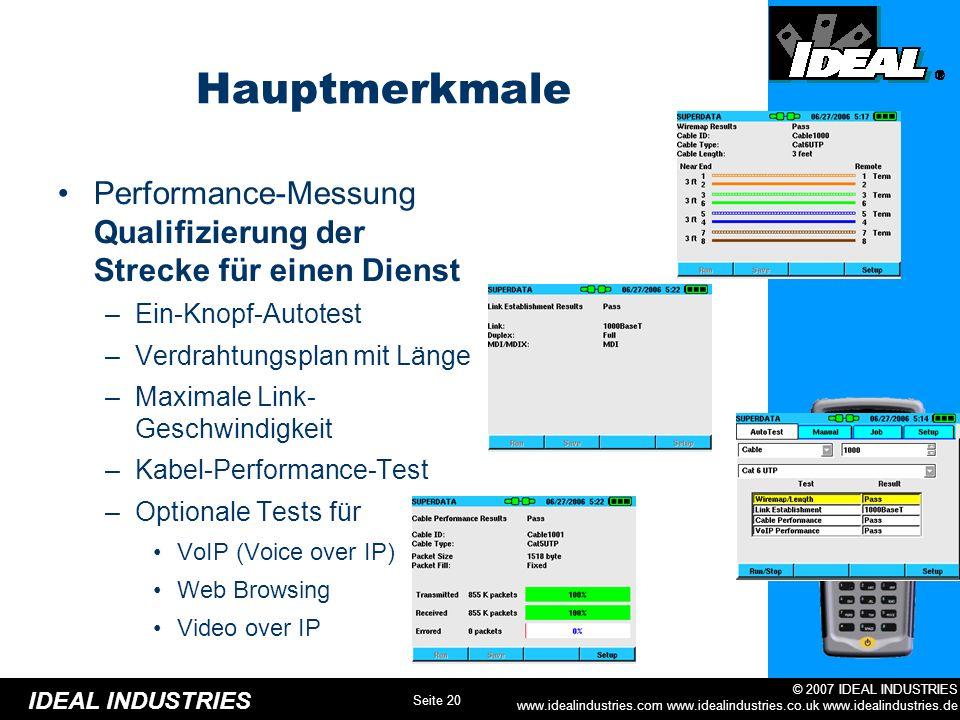 Hauptmerkmale Performance-Messung Qualifizierung der Strecke für einen Dienst. Ein-Knopf-Autotest.