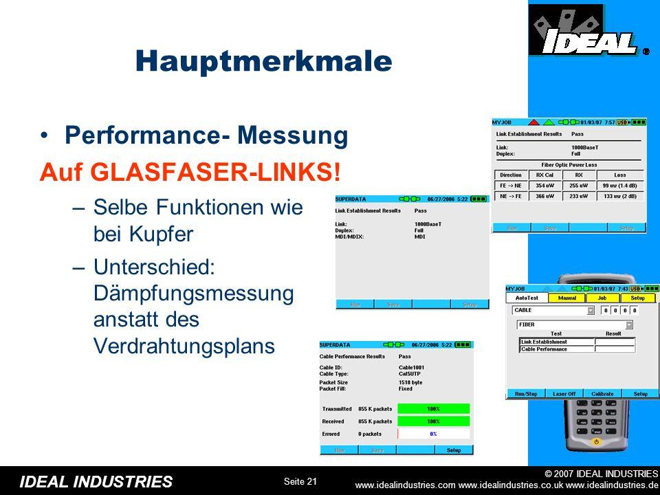 Hauptmerkmale Performance- Messung Auf GLASFASER-LINKS!
