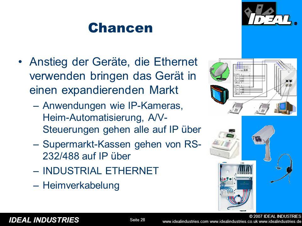 Chancen Anstieg der Geräte, die Ethernet verwenden bringen das Gerät in einen expandierenden Markt.