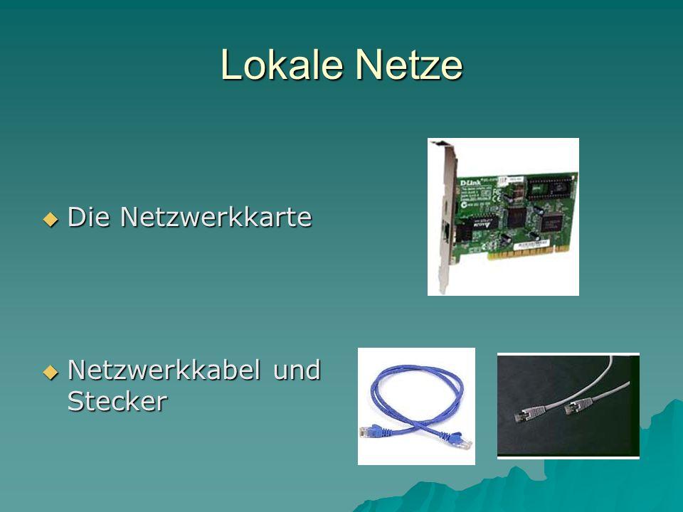 Lokale Netze Die Netzwerkkarte Netzwerkkabel und Stecker