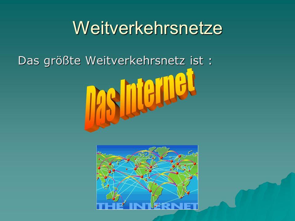 Weitverkehrsnetze Das größte Weitverkehrsnetz ist : Das Internet