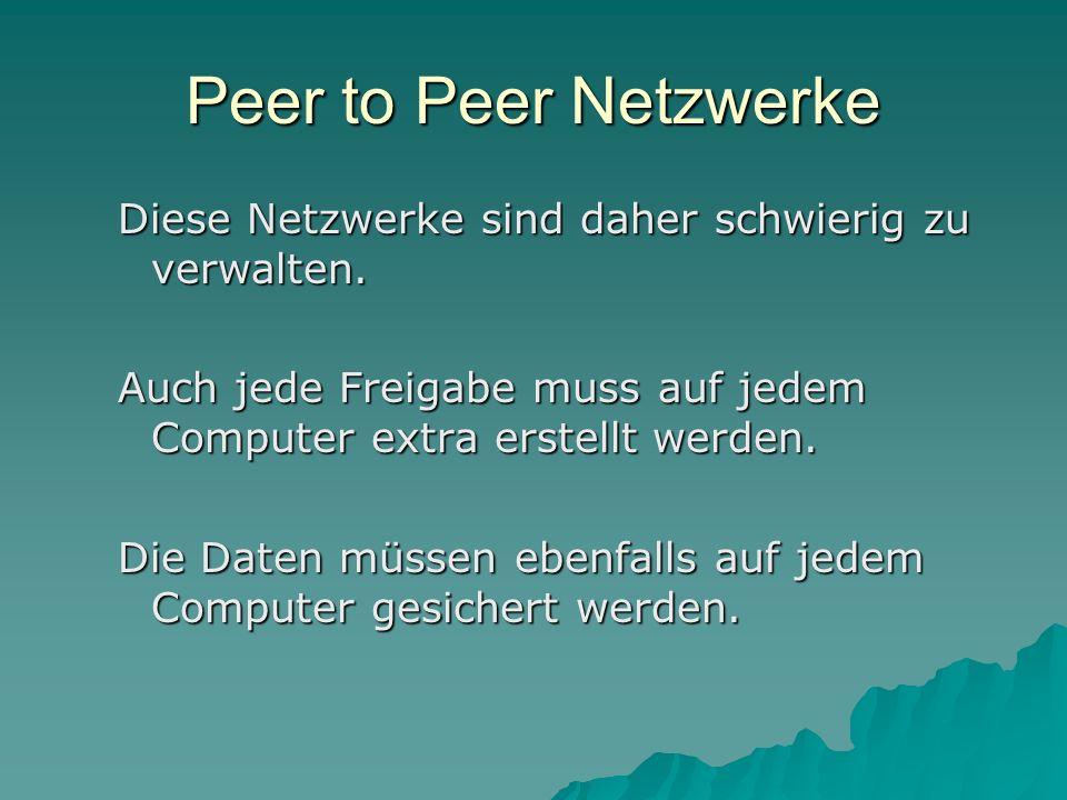 Peer to Peer Netzwerke Diese Netzwerke sind daher schwierig zu verwalten. Auch jede Freigabe muss auf jedem Computer extra erstellt werden.