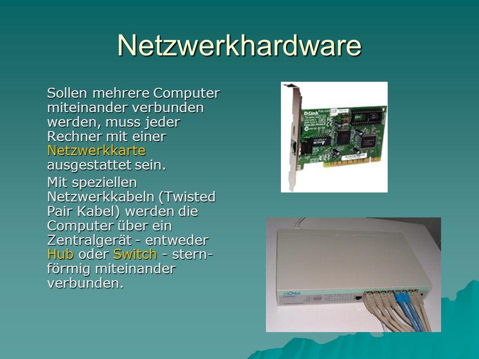 Netzwerkhardware Sollen mehrere Computer miteinander verbunden werden, muss jeder Rechner mit einer Netzwerkkarte ausgestattet sein.