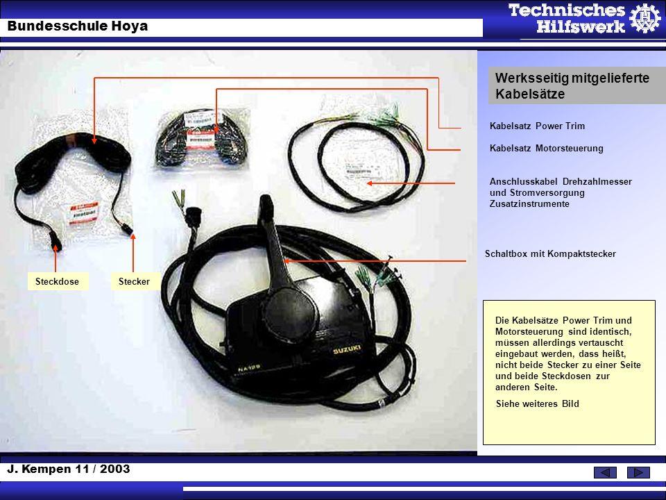 Werksseitig mitgelieferte Kabelsätze