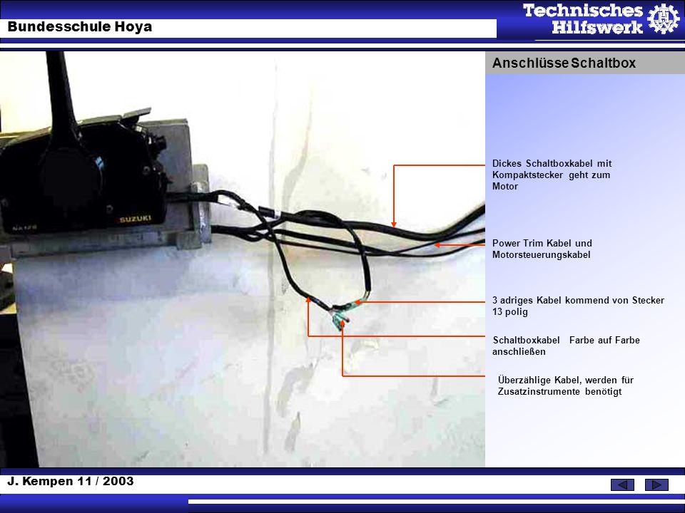 Anschlüsse SchaltboxDickes Schaltboxkabel mit Kompaktstecker geht zum Motor. Power Trim Kabel und Motorsteuerungskabel.