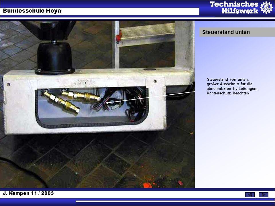 Steuerstand unten Steuerstand von unten, großer Ausschnitt für die abnehmbaren Hy.Leitungen, Kantenschutz beachten.
