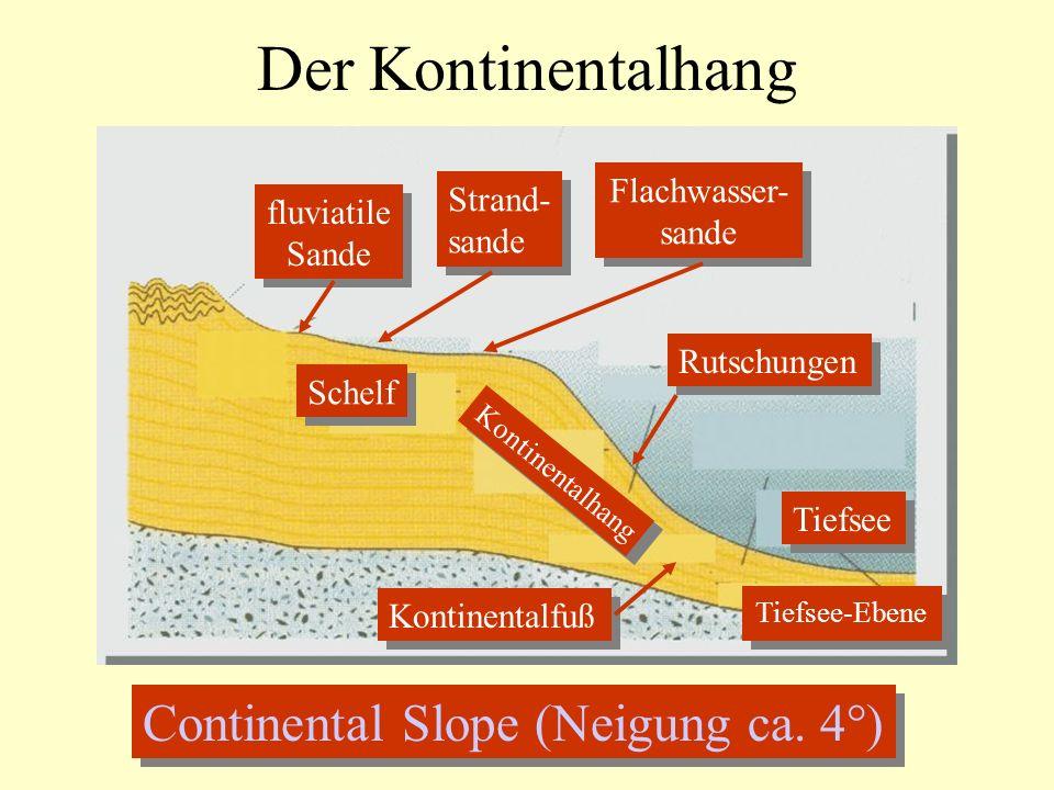 Der Kontinentalhang Continental Slope (Neigung ca. 4°) Flachwasser-