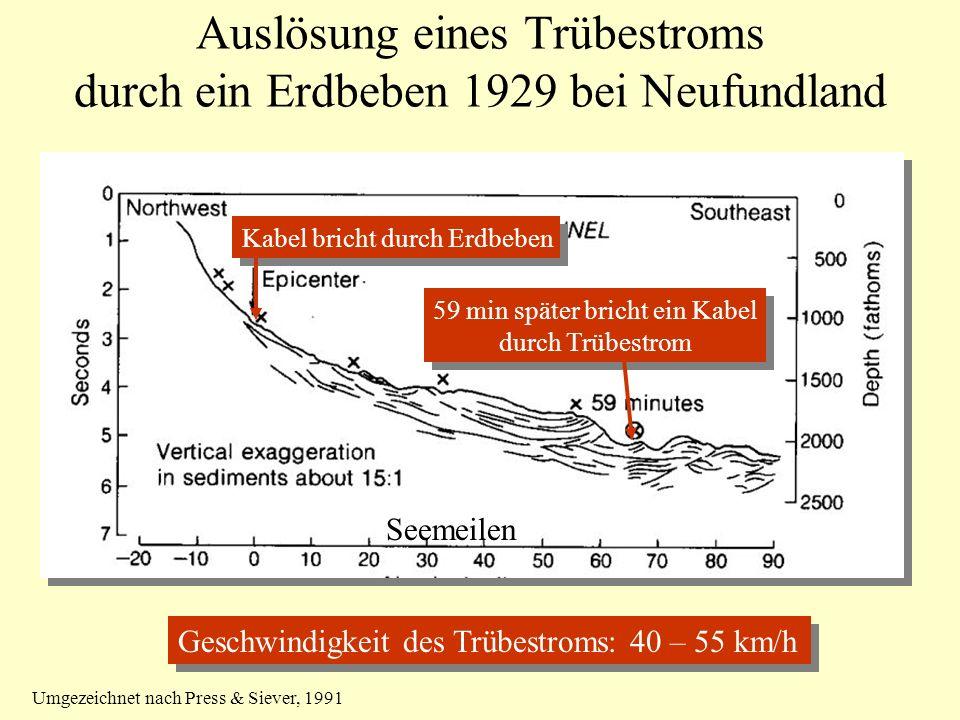 Auslösung eines Trübestroms durch ein Erdbeben 1929 bei Neufundland