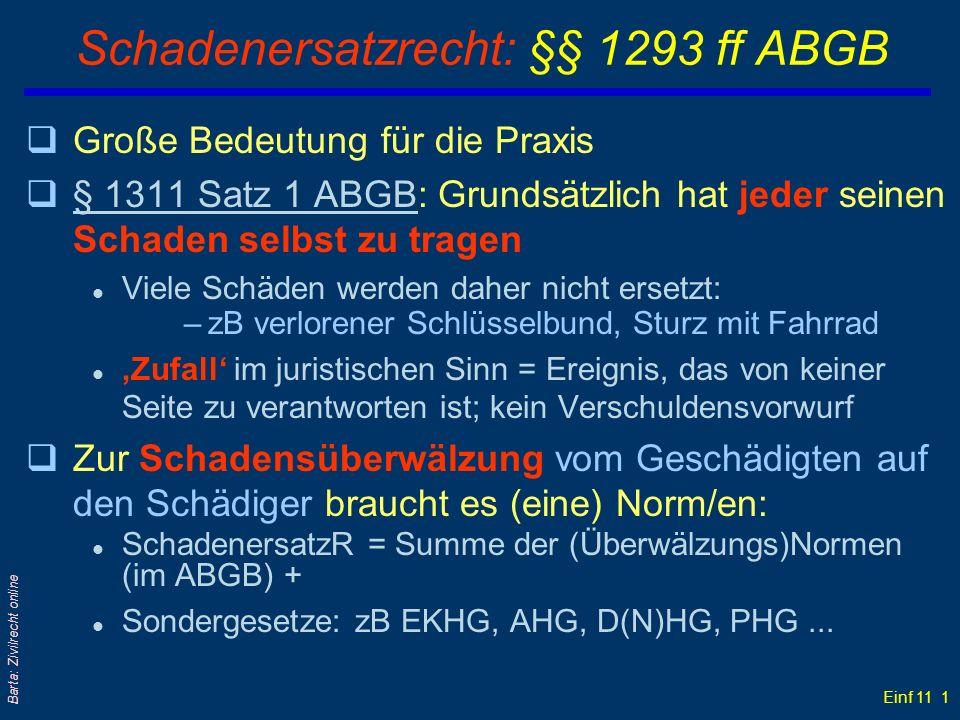 Schadenersatzrecht: §§ 1293 ff ABGB