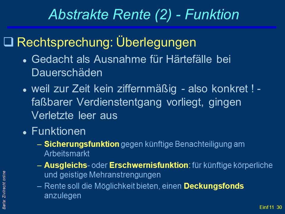 Abstrakte Rente (2) - Funktion
