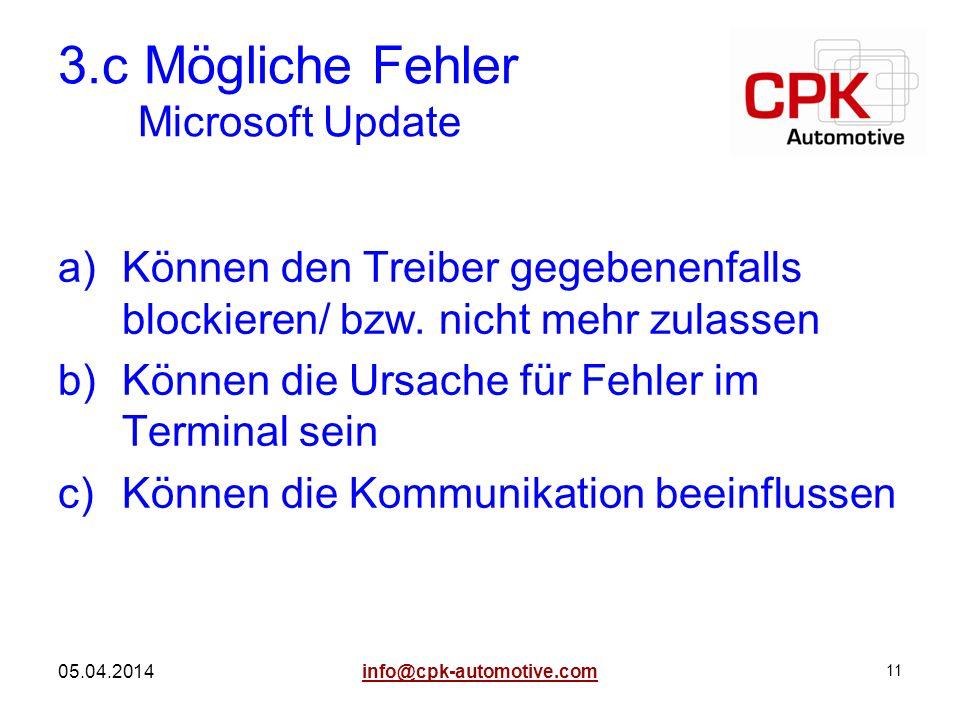 3.c Mögliche Fehler Microsoft Update