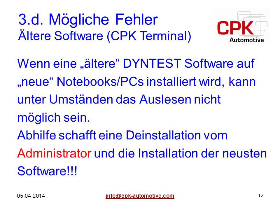 3.d. Mögliche Fehler Ältere Software (CPK Terminal)