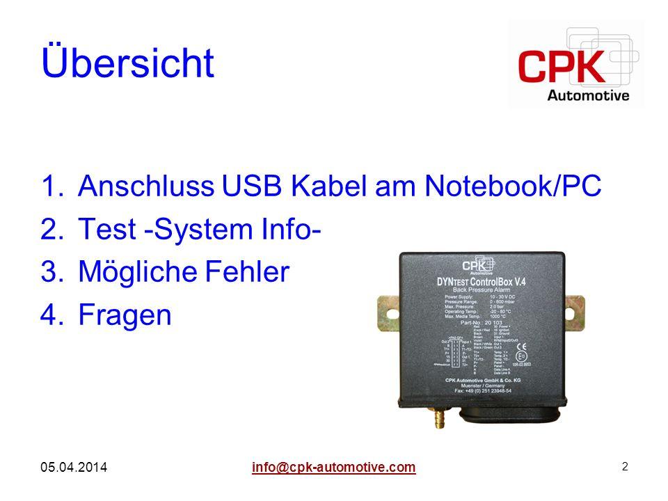 Übersicht Anschluss USB Kabel am Notebook/PC Test -System Info-