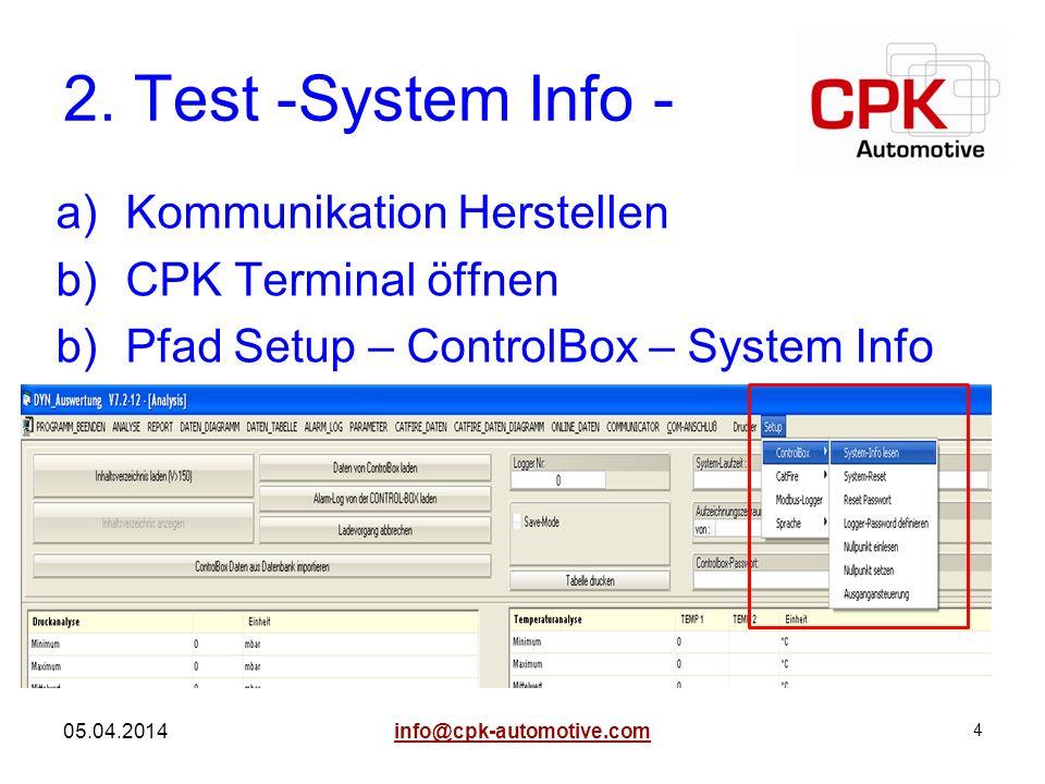 2. Test -System Info - Kommunikation Herstellen CPK Terminal öffnen