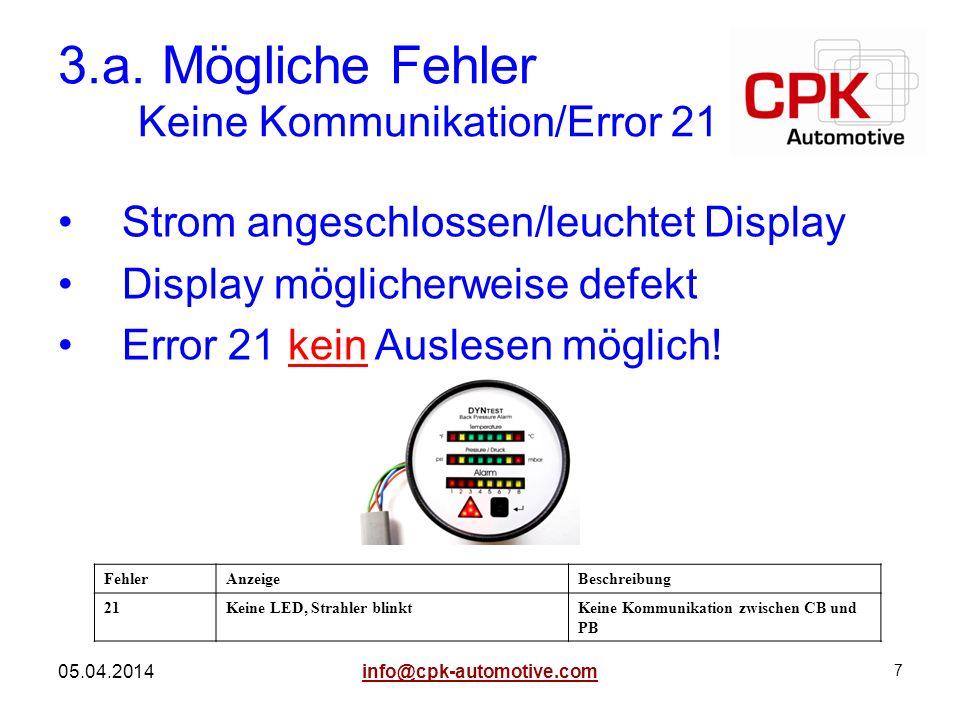 3.a. Mögliche Fehler Keine Kommunikation/Error 21