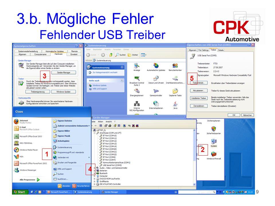 3.b. Mögliche Fehler Fehlender USB Treiber